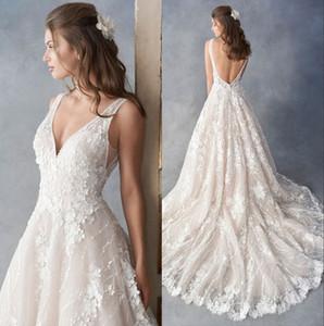 Applique del merletto Abito da sposa con scollo a V 3D floreale handmade di cerimonia nuziale del 2020 Bianco Backless Beach Princess da sposa abiti da sposa