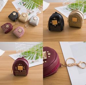 Keychain mini-bolsa da moeda rebite rebite pequeno ombro acessórios chave saco de pingente de jóias