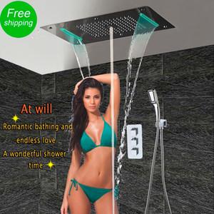 Salle de bains avec douche Set LED plafond Pomme de douche thermostatique Concealed Panneau de bain de luxe Douche Cascade Bubble Mist HF5422