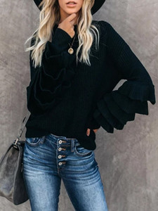 Mode féminine Pull ras du cou manches Petal d'hiver en vrac pull en tricot à manches longues Femme Automne Femme Pull S-2XL