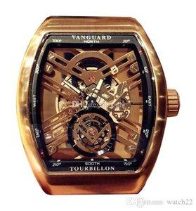 Montre de luxe Pioneer série V 45 T GR CS SQT (NR) Skeleton Dial Miyota automatique Mens Black Watch Case bracelet en cuir sport Montres