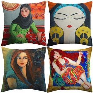 لوحات النفط في الشرق الأوسط الإسلامي سيدة نساء سادة الأغطية الثقافة الشعبية تغطية الفن وسادة العربي لغرف النوم الكتان القطن المخدة
