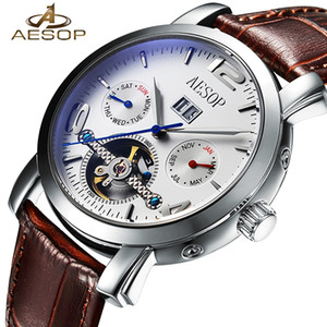Aesop Automatic Mechanical Men Watch Men Top Brand di lusso in pelle di scheletro orologio da polso moda maschile orologio uomo relogio masculino J190706