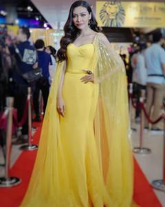 Celebrity Yellow Caftan Evening Dresses Dubai Mermaid Prom Dresses Long Formal Party Gowns Red Carpet Dress Robes De Caftan Abaya Dubai
