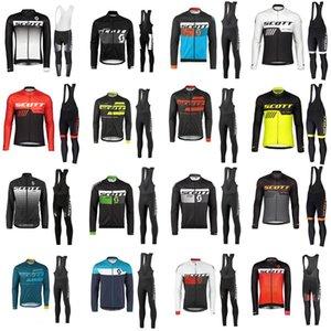 equipe SCOTT ciclismo de longa Sleevess Jerseys (bib) ciclismo gel jersey bicicleta Pad Set MTB SOBYCLE Ropa Ciclismo mens ciclismo Maillot desgaste B61725