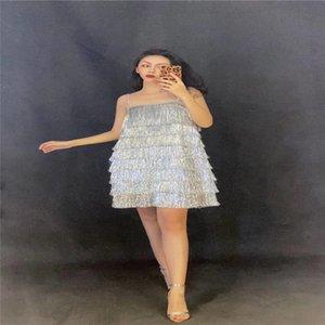 V51 бальные танцы сценические костюмы серебряные кисточки женское сексуальное платье подиум шоу юбка proom pole dance наряд одежда для вечеринок