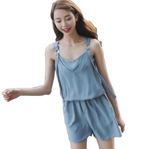 Pengpious verão moda novo macacão de chiffon com bolsos laterais para meninas doces cinta macacão