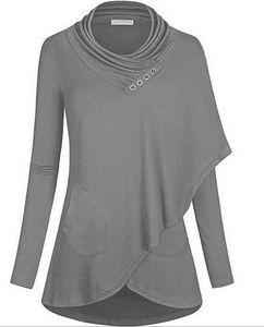 Nova cor sólida das mulheres de mangas compridas bib camisola casual assimétrica