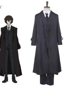 Anime Bungou Stray Dogs 코스프레 의상 Dazai Osamu Cosplay Costume 남자 블랙 트렌치 팬츠 넥타이 4PCS 할로윈 복장 세트