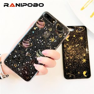 Lujo brillante brillo espacio planeta cajas del teléfono para iphone 6 6 s plus 7 7 plus 8 8 plus moda bling star silicona suave contraportada