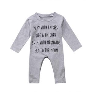 Netter Baby-Kind-Spielanzug Baumwolle Langarm Neugeborene Jungen-Mädchen-Top-Spielanzug-Overall-Babyklage-Baumwollkleidung Outfit USA