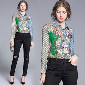 2020 럭셔리 여성 디자이너 셔츠 플러스 사이즈 우아한 긴 소매 옷깃 목 인쇄 숙녀 버튼 블라우스 슬림 활주로 사무실 셔츠 탑스