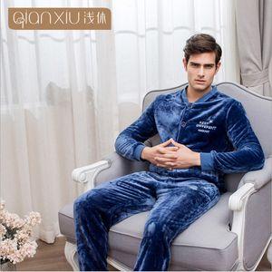 2019 Winter Men Casual Simple Pajama sets Men's Thicken Warm soft Flannel Sleepwear suit Male Baseball Collar Coat + pants XXL