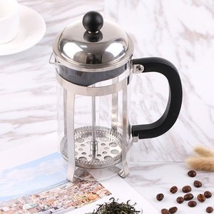 Edelstahl Französisch Kaffeekanne Haushalt Verwendung Tragbares Teefilter Glaskaffeewerkzeugmaschinen drücken Plunger QQA212