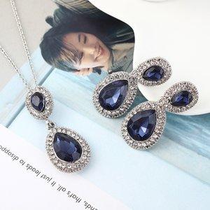 Ожерелье серьги с Drip Shaped Синий Gem Rhinestone Классический штрафа способа венчания для женщин Ювелирные наборы