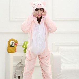 Pembe domuz Flanel Sonbahar ve kış Cosplay Karikatür hayvanlar kadınlar için Pijama yetişkin Kapüşonlu Pijama setleri Onesies