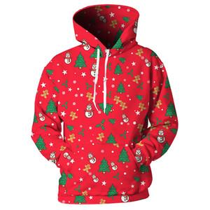 Cloudstyle Snowman Tree Sweats À Capuche Imprimé 3D Pour Noël À Manches Longues Ours Outwear Harajuku Streetwear Pulls Tops