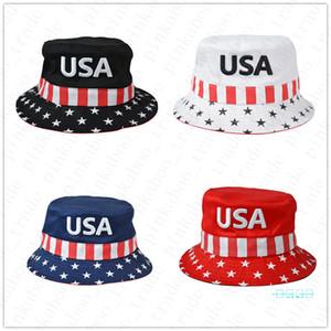 Hot Unsiex Donald Trump Cap INS Bucket Hats USA Printed Summer Cotton Sun Hat Visor Travel Outdoor Election Fisherman Cap Headgear D42204