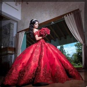 2020 robe de bal rouge quinceanera robes élégant à l'épaule dentelle applique satin doux 16 anniversaire robe de fête de bal de bal anniversaire personnalisé fabriqué