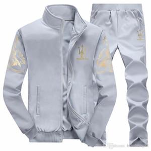Tute da uomo autunno set di giacche da jogger con pantaloni tuta hip hop tute di design grigio nero