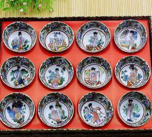 Großhandel New Style Neue Porzellansammlung Antiker Jingdezhen Keramik Zwölf goldene Tee-Schalen Weingläser Full Set Antiquitäten