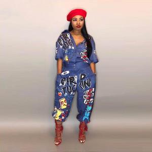 Yeni Stil Marka Moda Hip Hop Tarzı Kadın Tulum Özel Mektup Turn Down Yaka Yarım Kollu Romper Ld8103