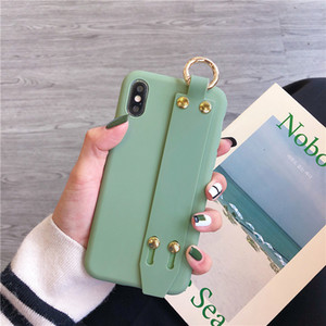 Candy Color TPU Phone Case with Wrist Band for iPhone XS Max XR X 8 7 6 Plus Soft Back Cover Strap Stand