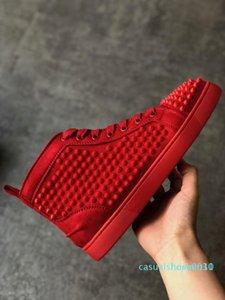 Высокое качество кроссовки Red Bottom ботинка High Cut Замша Spike Lux красный Низ Обувь Свадьба Кожа кроссовки L30