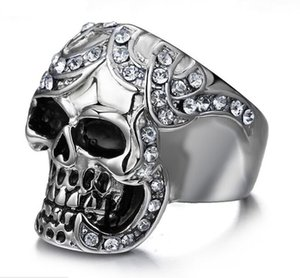 HRN Skull Ring Men's Vintage Gothic Stainless Steel Rings Skull Wings Motorcycle Biker Rings with CZ Size 8-12 K3704