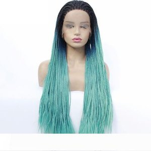 Braided Lace front Wigs Ombre Grey Hair for Women Synthetic Heat Resistant Long Braids Wig Glueless Half Hand Tied