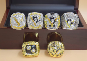 6pcs 1991 1992 2009 2016 2017 2017 PITTSBURGH PENGUINS STANLEY CUP Hockey CHAMPIONSHIP RING Set Men Fan Souvenir Gift Wholesale