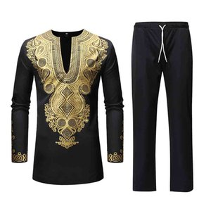 Men Sets African Dashiki Clothing Cotton Spring Casual Tracksuit Male V Neck Tshirt Pants African Mens Costume Suit Mar6