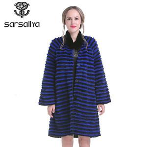 SARSALLYA Kış Kadın Vizon Coat Gerçek Vizon kürk Palto Gerçek Deri Ceket Kürk Vizon Uzun Bayan Tavşan Kürk Ceket Y190925