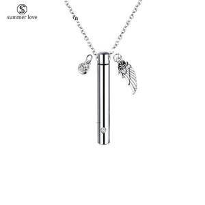 Collier en acier inoxydable Stash Médaillon Wing et Crystal Dangle Collier cylindre Capsule Vial Crémation Ash Urn Colliers Memoiral pour les amoureux