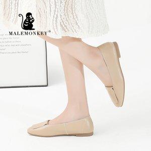 MALEMONKEY talón 012.991 Nuevo bajo de las mujeres zapatos de ballet del barco de 2020 mujeres del resorte retro zapatos de los planos casuales Apartamentos cómodos