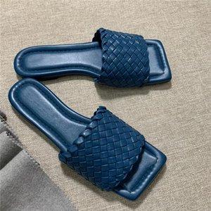 2020 Principios de la primavera de punto zapatillas y sandalias de la manera comprueban la delgada superficie de piel de oveja tejida con suela de cuero zapatillas, con la caja original