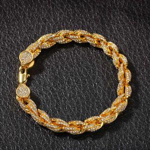 Hip Hop Bling Iced Out Men's Rapper Bracelet Full 3A Rhinestone 9MM Twist Rope chain Bracelets for Men Women Jewelry Wholesale