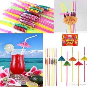 3D Paper Umbrella Cocktail Drinking Straws Plastic straw pNovelty Party Bar Decor Wedding Hawaiian Pool Party Decor