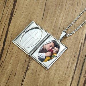 Locket Necklace Pendant For Men Stainless Steel Photo Frame Design Cross Engravable Memory Romantic Love Choker Best Friend Gift