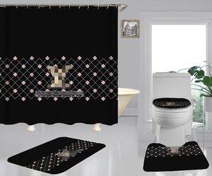 L Letter moda Duche Home Decor Mat macia antiderrapante Tapete Flor pequena impressão Cortina Vintage Grade Bath Curtain