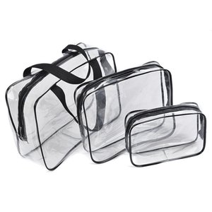 Crystal Clear Waterproof Cosmetic Bag Travel Toiletry Bag Set with Zipper PVC Makeup Pouch Handle Straps for Women Men Organizer Case wholes