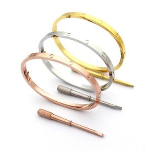 Moda Caliente Modelo de Acero Inoxidable Love Love destornillador pulsera 4mm pulsera de titanio 18 K chapado en oro pulseras brazaletes para mujeres Moda