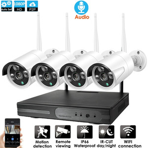 4-Kanal CCTV-System Wireless Audio 1080P NVR 4PCS 2.0MP IR Außen P2P Wifi IP-Überwachungskamera-System Surveillance Kit