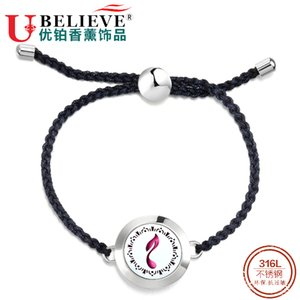 Fashion Handmade Weave Braided String Rope Bracelets For Women Vintage Essential Oil Diffuser Bangles Stainless Steel Bracelets