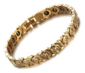 Hot Sell Elegant new blackgallstone zircon Titanium Steel 14k gold Bracelet energy element Bracelet Nice Christmas birthday gift