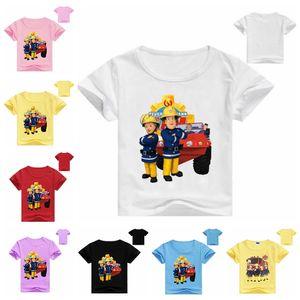2020 niños verano 3D dibujos animados bombero Sam impresión camiseta para niño niña Camiseta de manga corta Tops ropa niños camiseta traje rf5