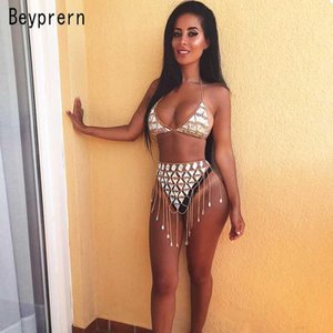Beyprern Seductive Festival Celebrities Metal Skirt Set Two Piece Shiny Metallic Bra Top+Mini Skirt Festival Outfits Beach Suits