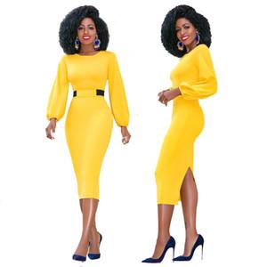 여자 우아한 백 슬릿 연필 Office 복장 높은 허리 긴 소매 패션 비즈니스 워크웨어 Bodycon 미디 드레스 착용