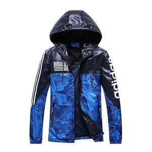 adidas Designer casaco corta-vento Homens Blue Jackets New Moda Casacos Zipper Hoodies Primavera Esportes de outono vestuário S-2XL Atacado