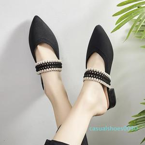 Olağandışı Topuklar Terlik Kadın Sivri Burun Ayakkabılar Slaytlar Örme Ayakkabı Kadın Moda Katır Kadın Yaz 2019 yeni C30 Ayakkabı
